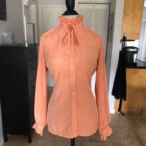 Peach/Coral colored ruffle silk blouse